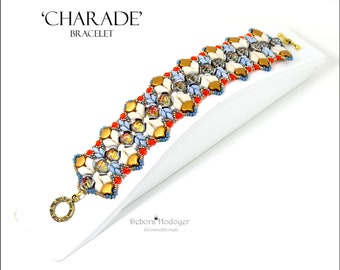 Bead pattern DIY Armonia bracelet made with seed beads, fire polished rounds, Ginko beads, Kite beads, baroque cabochons