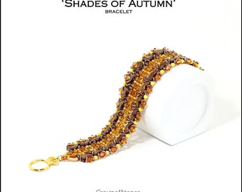 Bead pattern beaded bracelet Shades of Autumn made with seed beads, MIniduo, O beads, bicones, fire polished, Arcos par Puca beads