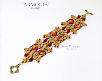 Bead pattern DIY Armonia bracelet made with seed beads, fire polished rounds, Ginko beads, Chevron beads, Paisleyduo beads