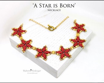 Bead pattern DIY A star is born necklace made with seed beads, 3x2mm faceted mcrospacers, fire polished rounds and Navette beads