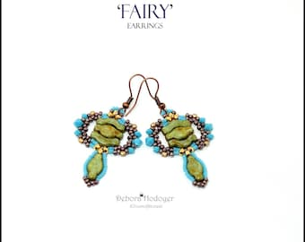 Bead pattern DIY Fairy earrings made with seed beads, fire polished rounds, 2x3mm faceted microspacers, Navette beads and Bridge beads