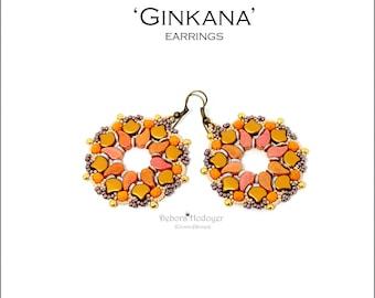 Bead pattern Ginkana earrings made with with seed beads, O beads, Ginko beads, Paisley duo beads