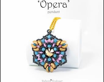 Bead pattern DIY beaded pendant Opera made with seed beads, Miniduo, Rulla, Superduo, Piggy, Swarovski, round beads, O beads