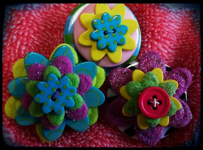 OOAK Fun Colors Handmade Flower Brooch Set #2