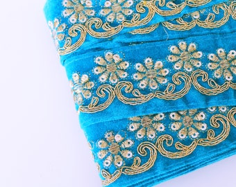 Turquoise and Gold sequin embroidered Fabric Trim Gota Sari trim with sequins Indian laces and Trims