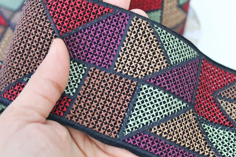 Muted Red,Purple,Brown Geometric Cross stitch Embroidered Fabric Trim Geometric Trim Cross stitch Embroidery Indian laces and Trims