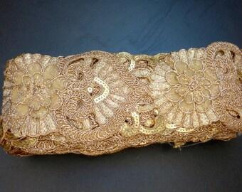 Gold Cut work trim, Embellished trim, Heart  trim, Gold Fabric trim, Decorative Fabric Trim