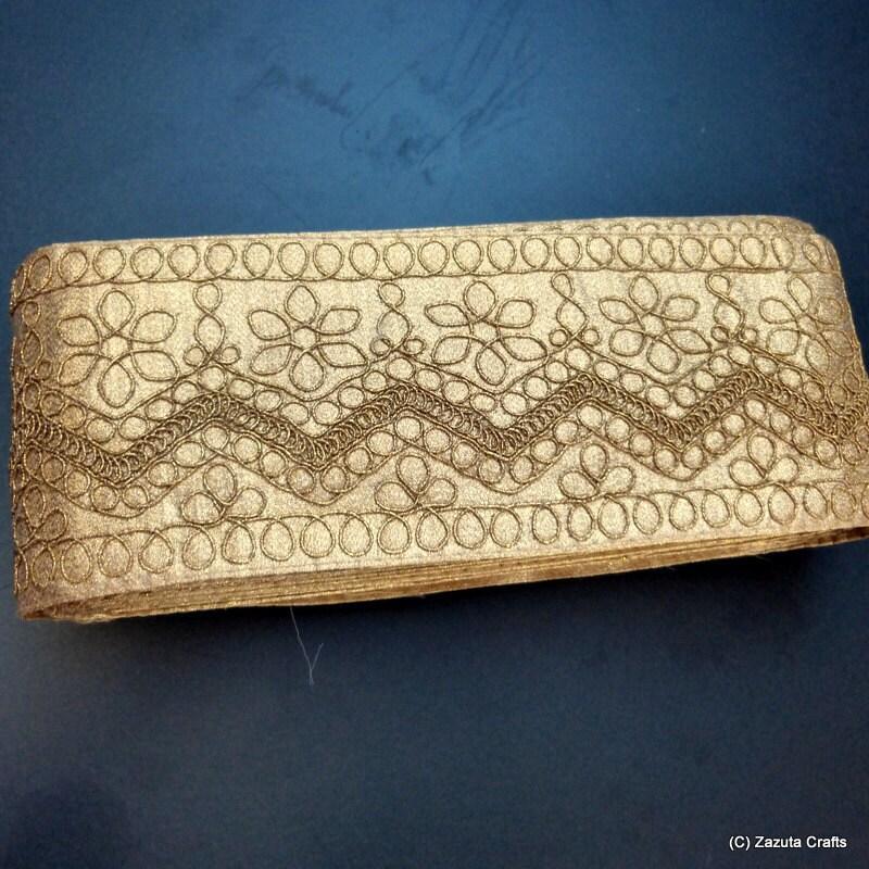Bordure dorée, embelli garniture, fleur fleur fleur de garniture, garniture en tissu doré, garniture en tissu décoratif - Gold 8 e147a5