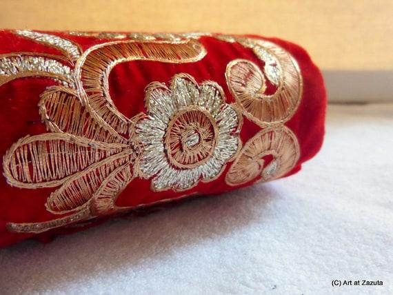 Large or velours rouge brodé floral garniture garniture floral - 1 yard 156132
