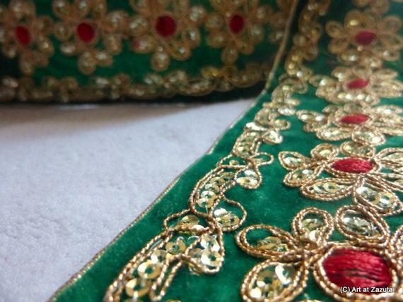 Tissu de vert velours vert de garniture rouge centrée fleurs-yard garniture-1 tissu pailleté d1c1c5