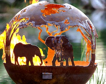African Safari Fire Pit Sphere