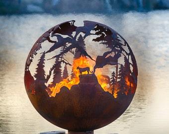 "High Mountain Fire Pit - 37"" Custom Outdoor Hand Cut Steel Firepit Sphere"
