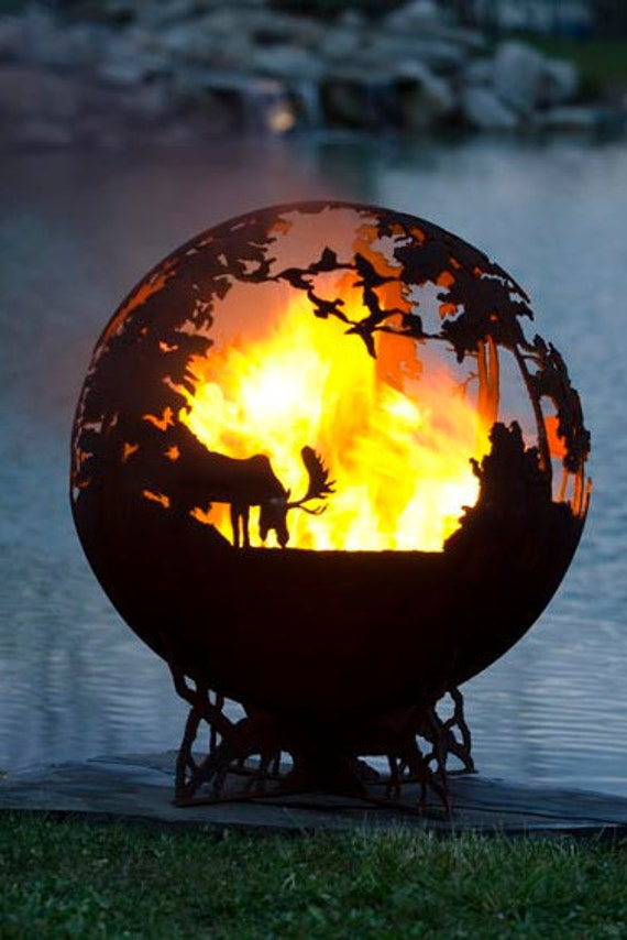 Up North Fire Pit Custom Outdoor Hand Cut Steel Deer