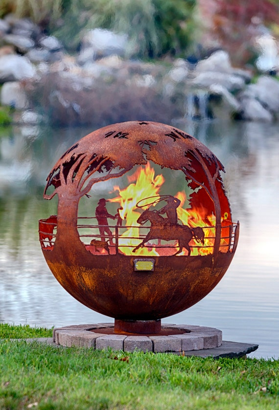 image 0 - Round Up Ranch Fire Pit Sphere With Flat Steel Base Or Etsy