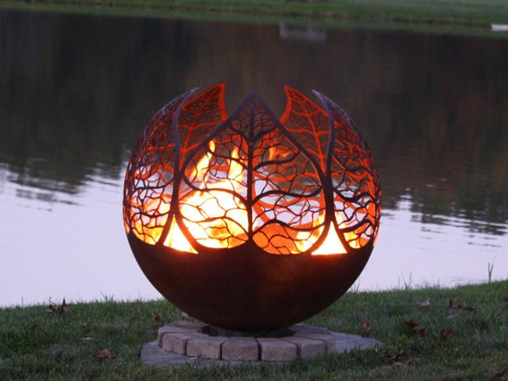 Autumn Sunset Fire Pit - Leaf Firepit Sphere - Autumn Sunset Fire Pit Leaf Firepit Sphere Etsy