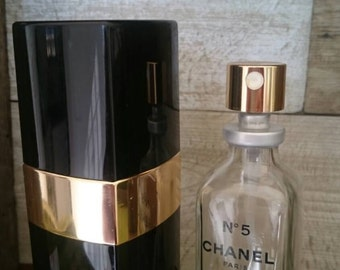 Chanel No 5 Perfume Black and Gold Atomizer Holder Case With Empty Chanel Collectible Perfume Bottle 50ml