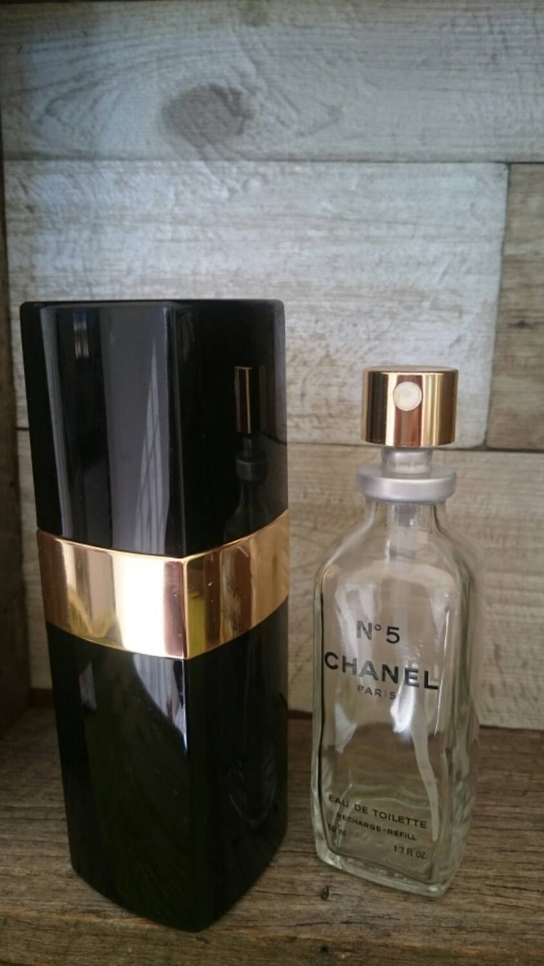 Chanel No 5 Perfume Black And Gold Atomizer Holder Case With Etsy