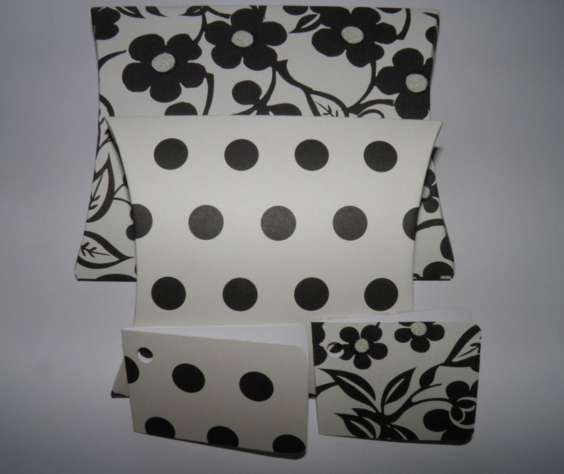 Black and off white two pack pillow box gift wrap set complete with coordinating ribbon.