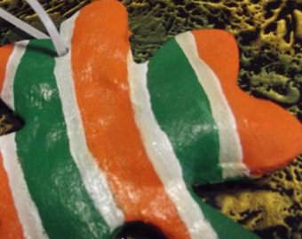 hand made bread dough - or salt dough IRISH Shamrock Christmas ornament - Colors of the Irish Flag