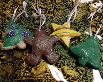 Charming set of Christmas Salt Dough Ornaments that look like Christmas Cookies - Set of Four 4