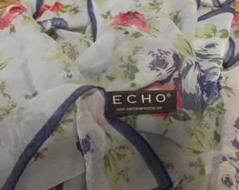vintage Chiffon Scarf by ECHO - Light Blue with Blue and Red Roses and Dark Blue Banding