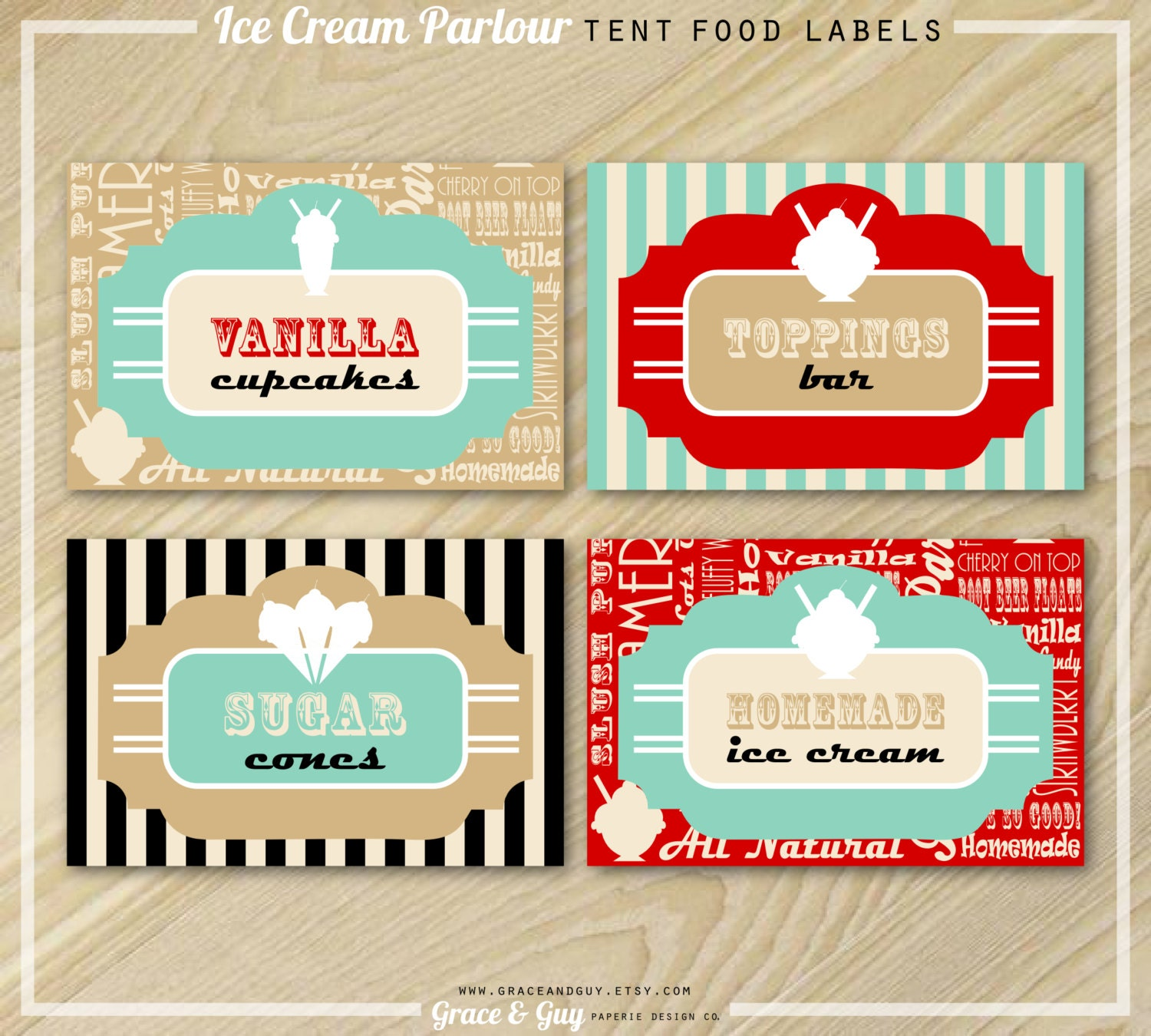 ice cream party buffet food labels ice cream labels | etsy