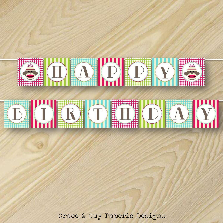 Printable Happy Birthday Banner Design: Vintage