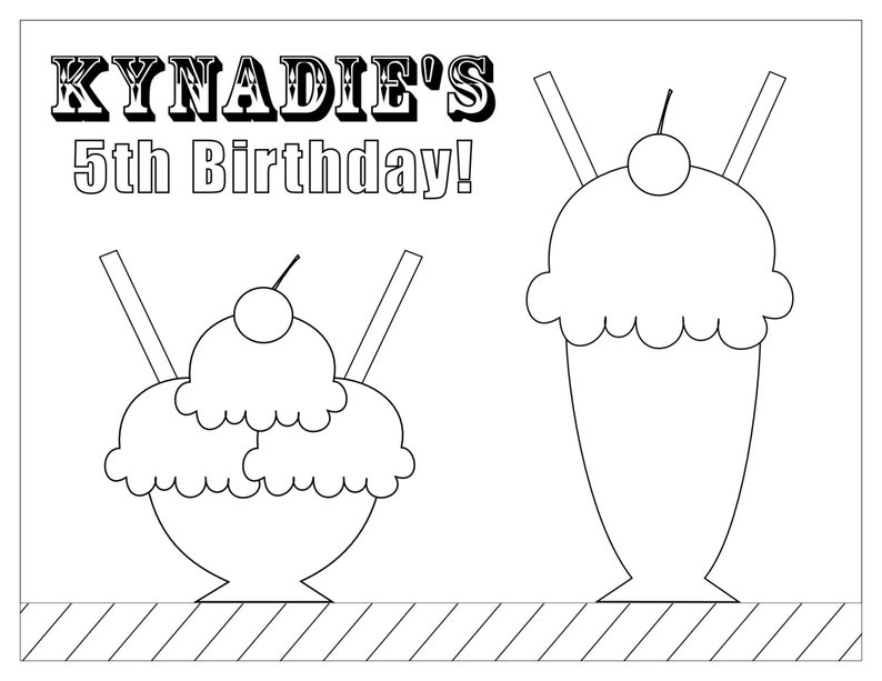 Ice Cream Party Coloring Page Ice Cream Birthday Party | Etsy