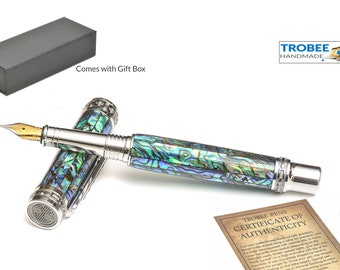 Nice Fountain Pen / Real Abalone Shell with Gift Box  Cast in Crystal Clear Acrylic -  Platinum / Black Titanium Perfect Gift Idea