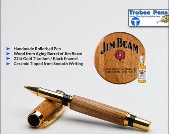 Jim Beam Wood Pen - Made by Hand Wooden Rollerball Writing Pen   Gift for a Drinker - 22kt Gold Accents