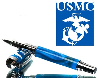 USMC Handcrafted Pen - Blue - US Marines rollerball pen - special pen - hand made on a lathe - hand turned pen - support our Marines