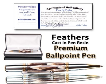 Handmade feather pen encased in pen resin -ballpoint pen with Swarowski crystal on clip comes with case polished to perfection
