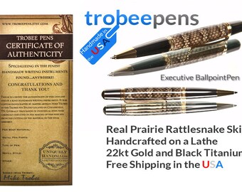 Rattlesnake Writing Pen Handmade - ballpoint pen  executive  gift for business writer Gold and black titanium metal signed authenticity card