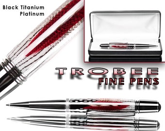 Handmade  Red custom feather pen ballpoint, platinum and titanium with case professionally hand made