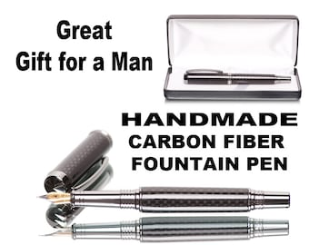 Black Carbon Fiber Fountain Pen cast in crystal clear resin - Top Pen Shop for Gift Pens of the highest quality  Rhodium Metal German Nib