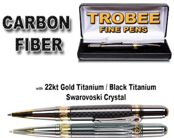 Carbon Fiber Pen Handcrafted , business executive or as a gift for a man Swarovski crystal on clip - black titanium parts-  gift for him