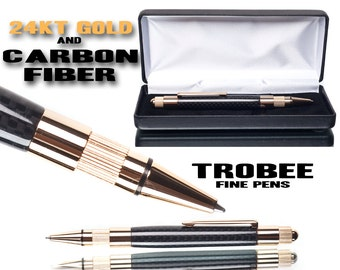 Handmade CARBON FIBER Ball Point executive pen gift for lady boss with 24kt gold accents, gift for bosses gift for a man - wrting pen -