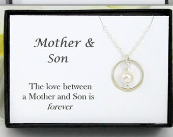 Mothers Day from Son, Gift for Mom, Mother and Son Necklace, Infinity Necklace, Eternity Necklace, Mother and Son Jewelry, Sterling Silver