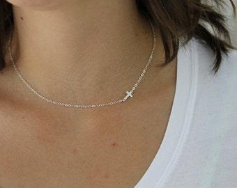 Sideways Cross Necklace, Gold Cross Necklace, Sideways Necklace, Dainty Cross Necklace, Cross Necklace Women, Layering Sterling Silver