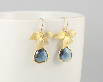 Gold Navy Blue Earrings Bridesmaid Gift Wedding Jewelry Sapphire Blue Glass Earrings Gold Jewelry Orchid Earrings Mothers Day Gift for her