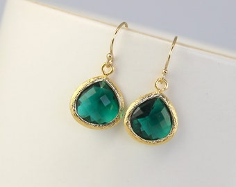 Emerald Earrings, Green Earrings, May Birthstone / Emerald Jewelry / 14k Gold Emerald Earrings, Bridesmaid Earrings / Bridal Jewelry