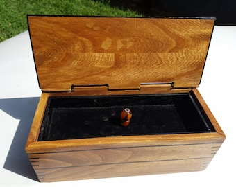 River Elm Wood Jewelry Chest with Mpingo (African Blackwood) Enlay