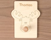Moose Animal Hook, cute nursery decor for hats, coats and backpacks. Personalize with a child's name.
