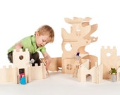 Modular Tree House and Building Walls // Natural Wood Dollhouse Toy will Challenge Kids' Creativity  //Modular Building Blocks