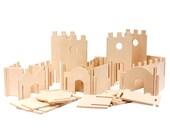 Modular Building Walls, Manzanita Kids Classic Deluxe, Wood Building Toy, Handmade, All Natural, Wood Castle Building Set