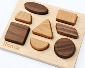 Wood Puzzle Personalized Natural Wood Baby Deluxe Shapes Toy Puzzle // Personalized Heirloom Puzzle for Babies & Toddlers // Handmade in USA