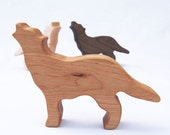 Personalized Wolf Baby Rattle // Organic, Handmade Wood Rattle Makes A Perfect Safe Baby Toy // Unique Baby Shower Gift