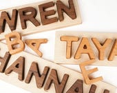Wood Name Puzzle, personalized wooden custom name puzzle // Montessori Educational Toy // custom handmade wood puzzle // baby Christmas gift