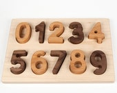 Wood Numbers Puzzle // Montessori Educational Toy // custom handmade wood puzzle // baby Christmas gift