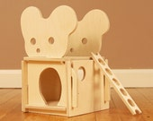 Wood Mouse House Dollhouse // A Classic Play House for Creative Minds // Modular Natural Organic Wooden Toy Playhouse for Kids